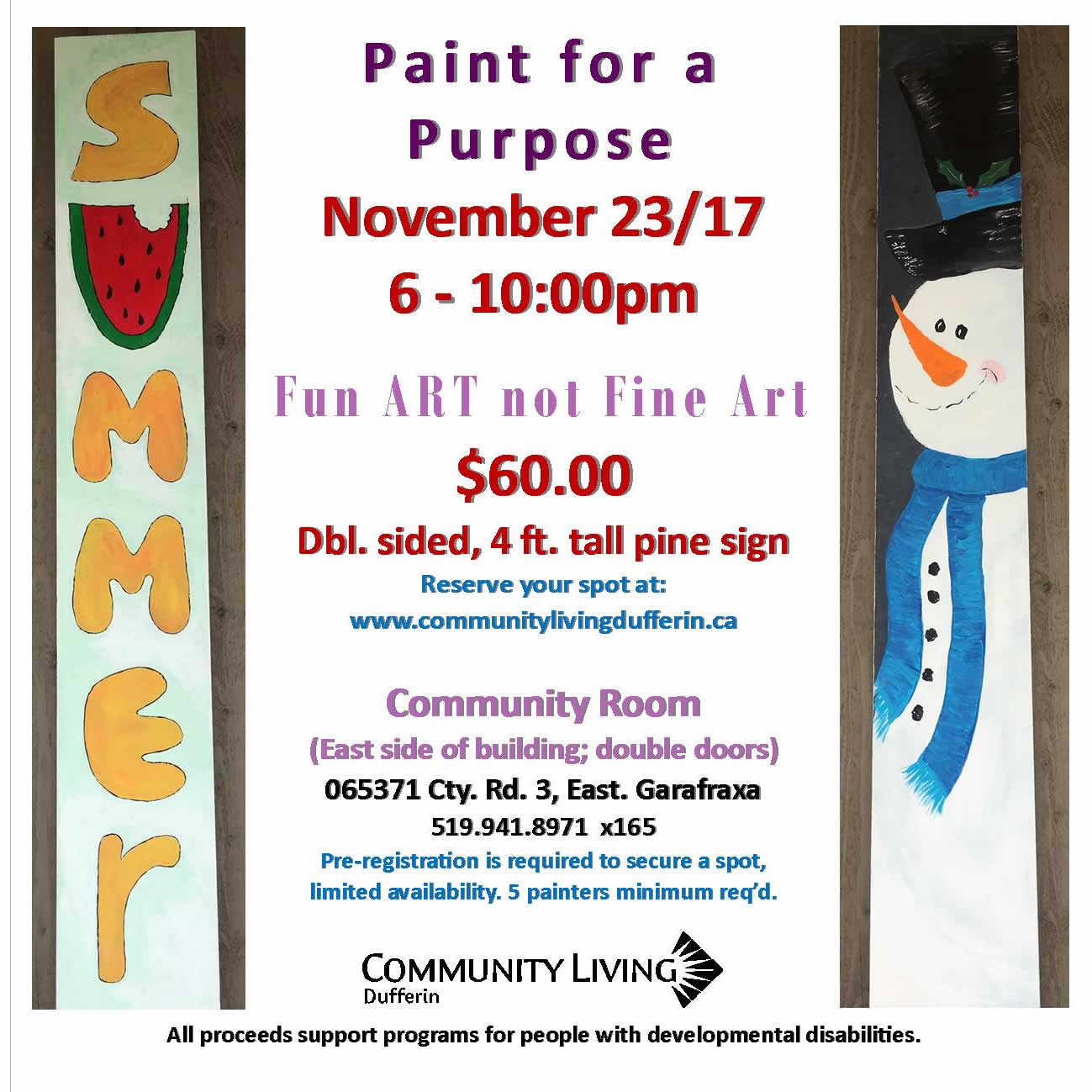 Paint for a purpose November 23/17- 4ft. double sided pine sign